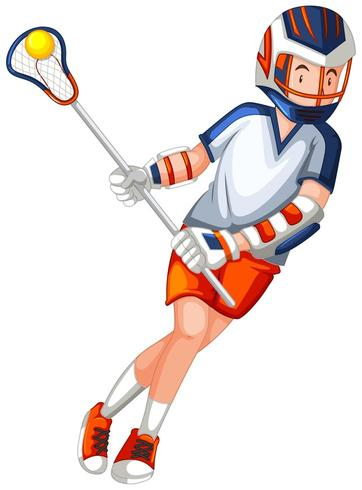 Un giocatore di lacrosse maschile
