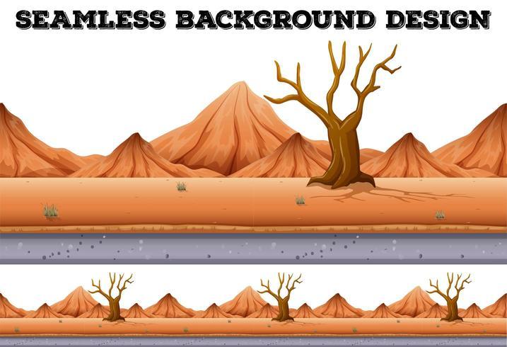 Projeto de plano de fundo sem emenda com árvore no deserto e montanha