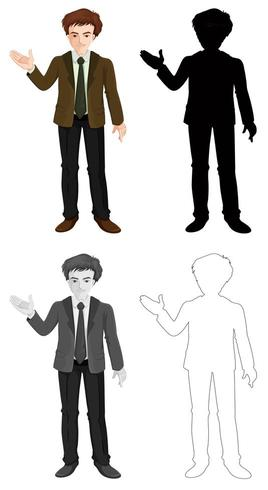 Conjunto de silueta de personaje de hombre de negocios y contornos