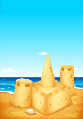Escena con castillos de arena en la playa vector