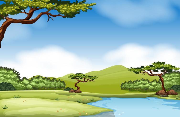 Cena da natureza com rio e campo e árvores