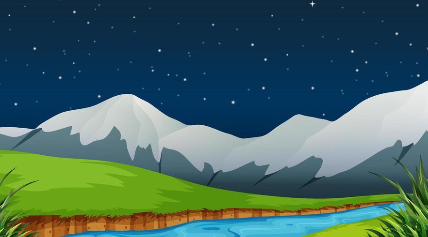 Scena notturna con fiume e montagne