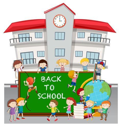 Tema de regreso a la escuela con estudiantes en la escuela vector