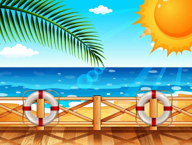 Szene mit Dock durch Ozean am Sommer