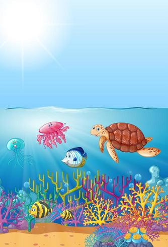 Sea creatures swimming under the sea