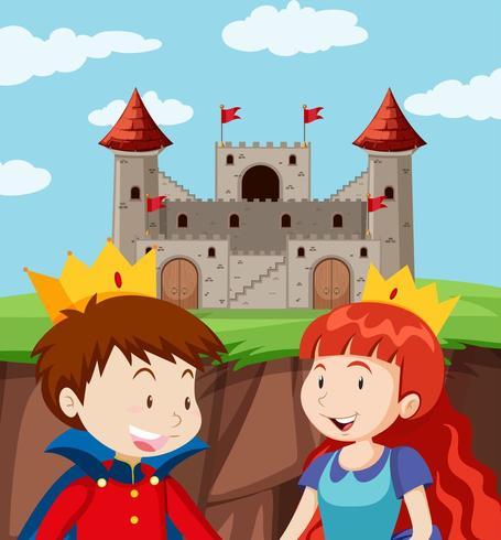 Feliz príncipe y princesa en el castillo vector