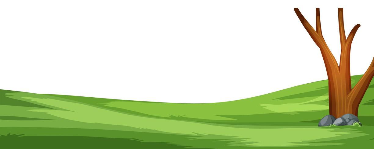 Un semplice campo di cartone animato e scena di alberi