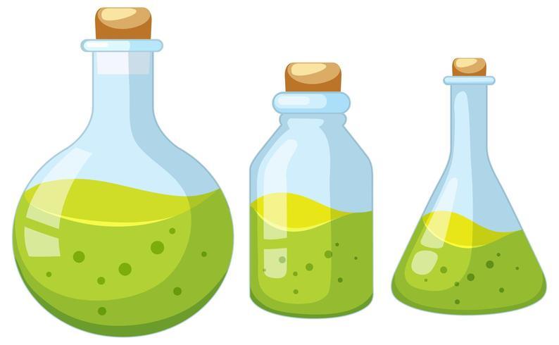 Conjunto de botellas de laboratorio. vector
