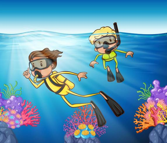 Two people scuba diving in  the ocean vector