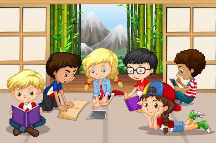 Gruppo di bambini che leggono nella sala