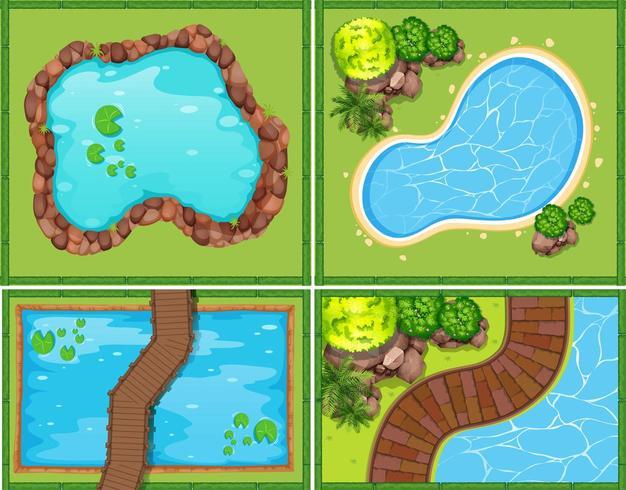 Fyra scener med pool och damm från ovan