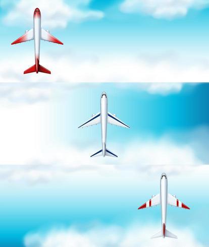 Drie scènes van vliegtuig dat overdag vliegt