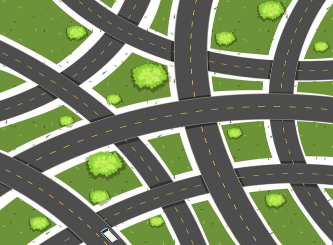 Escena aérea con caminos y campo vector