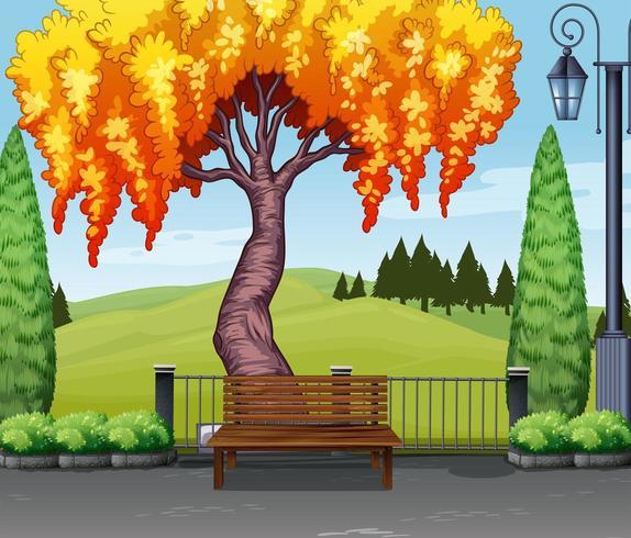 Escena de la naturaleza con el árbol en el parque vector