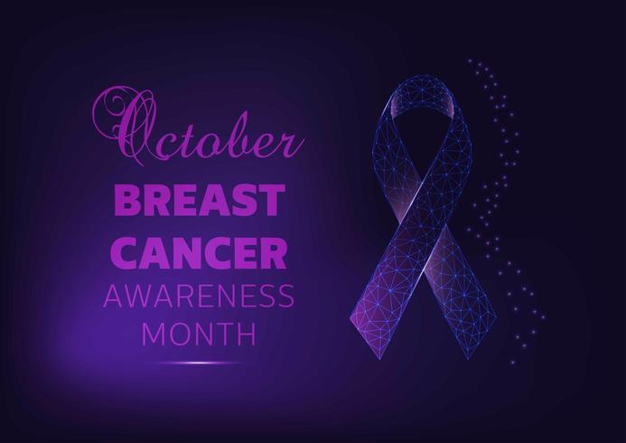Banner de campaña del mes de concientización sobre el cáncer de mama con cinta brillante vector
