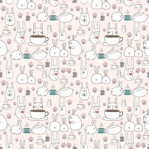 Simpatico coniglietto e caffè sfondo trasparente