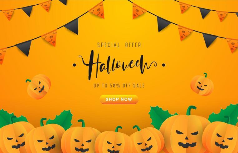 Halloween bakgrund med festflaggor och pumpor vektor