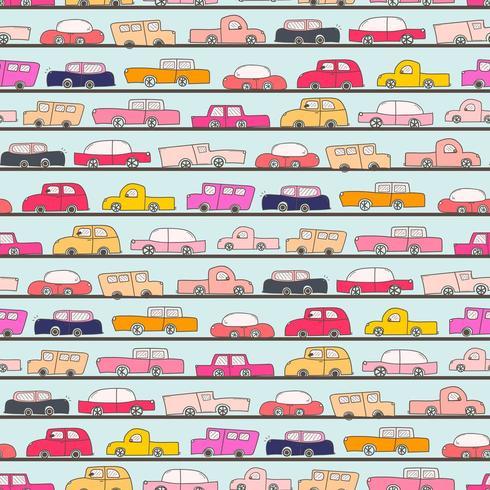 Patrones sin fisuras con fondo de patrón de Doodle de coche vector