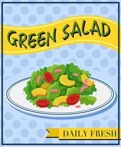 Salada verde no poster do menu