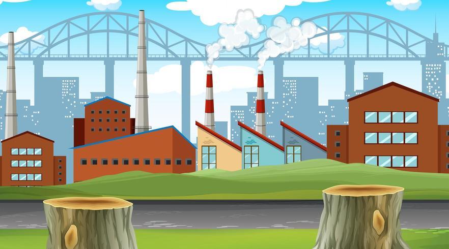 Fabbrica con lo sfondo della città