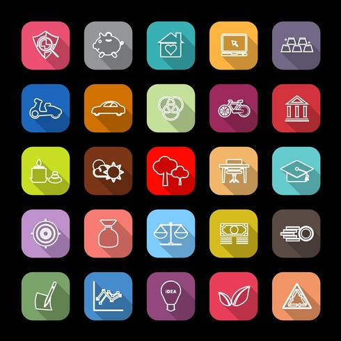 Iconos de línea económica con larga sombra vector