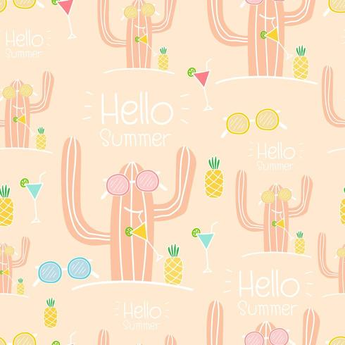Hello Summer seamless cactus pattern background vector
