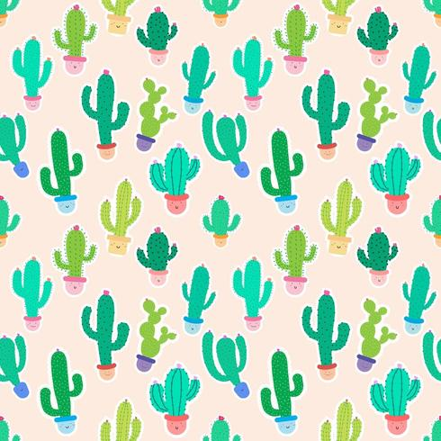 Cute Potted Cacti on Pink Seamless Pattern Background