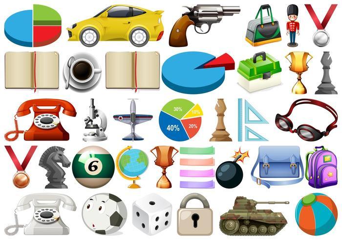 Grande conjunto de objetos diversos