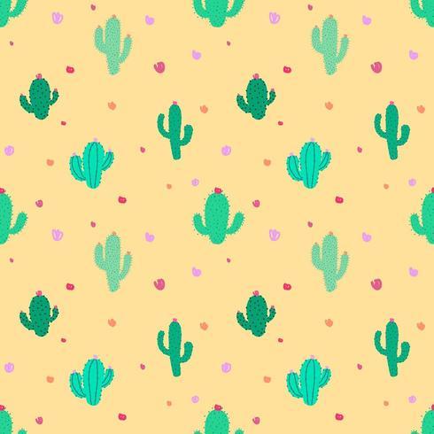 Fiesta Cactus Lindo Patrones Sin Fisuras vector