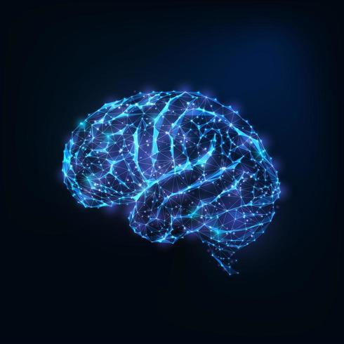 Gloeiende lage veelhoekige hersenen als verbonden lijnen, sterren