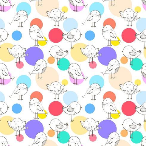 Cute Modern Dot Bird Seamless Pattern Background vector