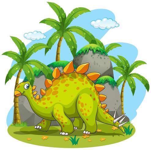Dinossauro verde andando no parque