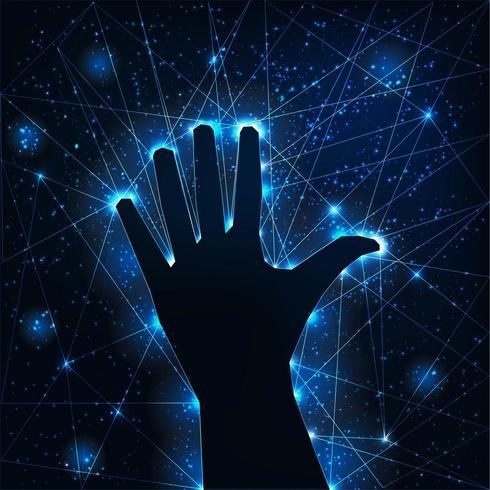 Silhueta de mão levantada escura sobre fundo futurista brilhante wireframe.