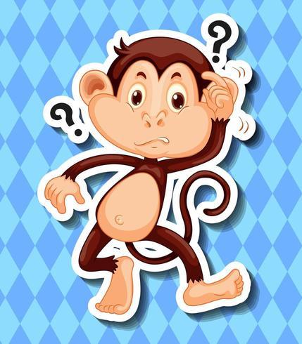 Macaco com pontos de interrogação