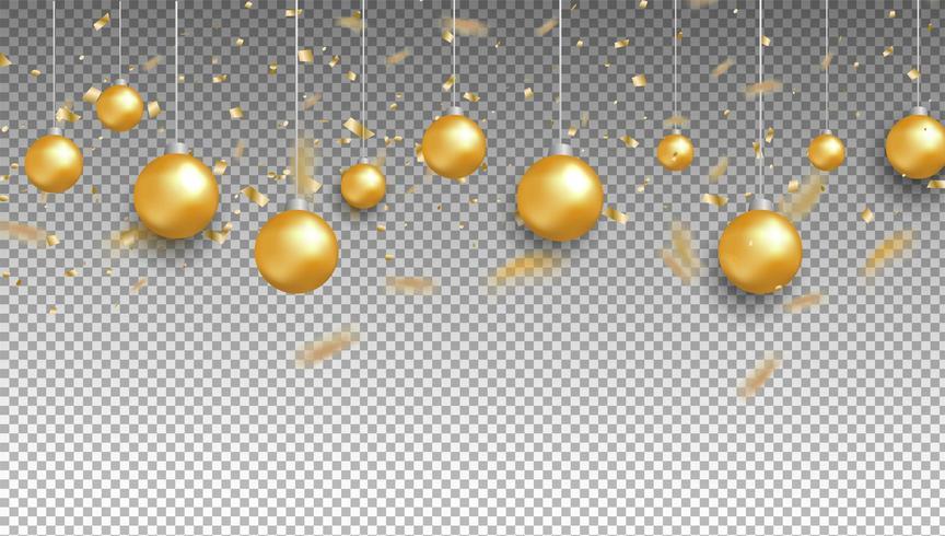 Bolas de oro y confeti sobre fondo transparente