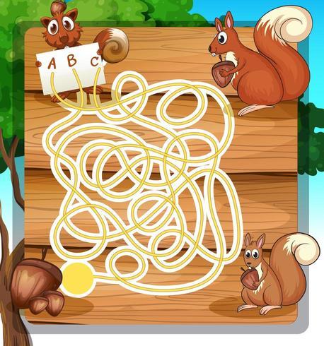 Modelo de labirinto de jogo com esquilos e nozes