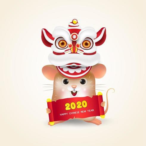 Pequeña rata o ratón realiza danza del león del año nuevo chino vector