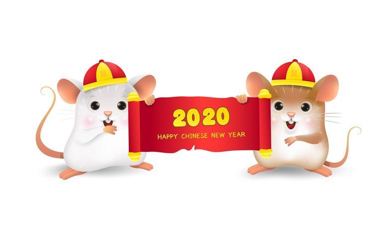 Rato branco e marrom com 2020 feliz ano novo chinês