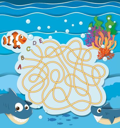 Plantilla de laberinto de juego con peces bajo el agua vector