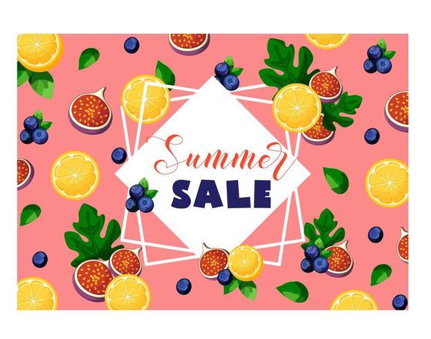 Banner de venta de verano con frutas y bayas limón, higos, arándanos y hojas vector