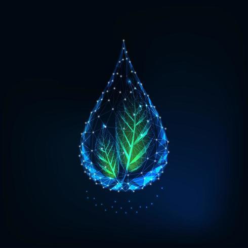 Futuristischer glühender transparenter niedriger polygonaler Wassertropfen mit grünen Blättern