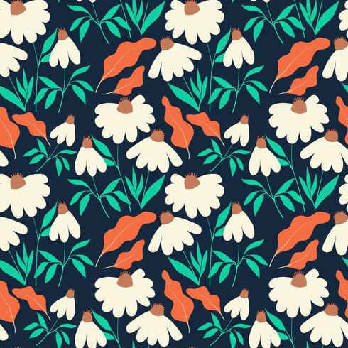 Seamless pattern with chamomile flowers and leaves on dark blue background vector