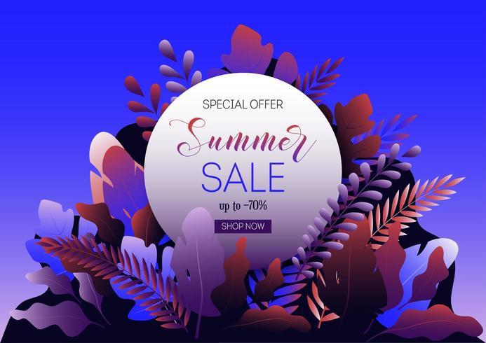 Banner de web de venda verão com folhas de floresta, frame redondo e texto promocional