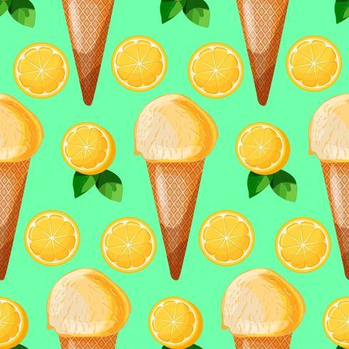 Cono de helado de menta de limón patrones sin fisuras con rodajas de limón y hojas verdes vector
