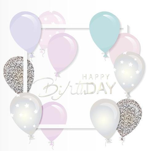 Ballons pastels et paillettes argentées Anniversaire et vacances papier découpé modèle de cadre