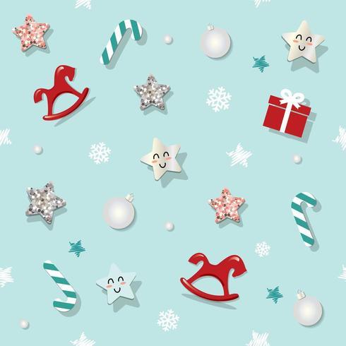 Navidad y año nuevo sin fisuras de fondo con estrellas de brillo vector