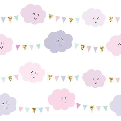 Bonito dos desenhos animados nuvens e guirlandas sem costura padrão em fundo rosa pastel e glitter