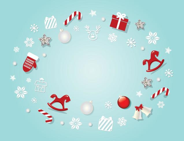 Weihnachtshintergrund mit traditionellen Sternen, Glocken, Pferden und Schneeflocken