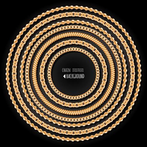Modello di cornice rotonda catene d'oro su sfondo nero