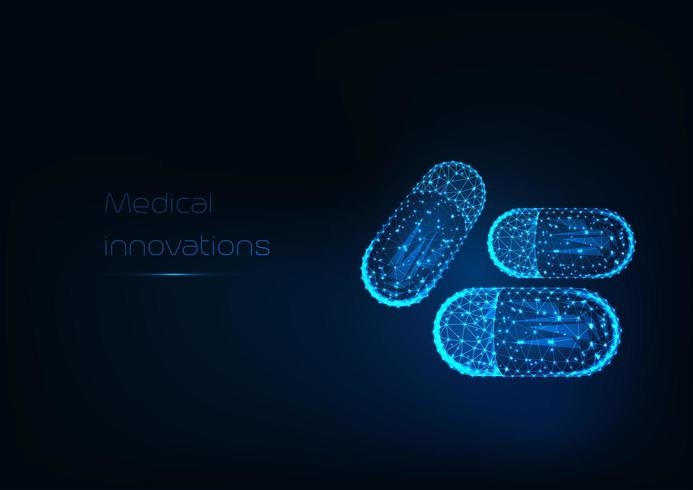 Futuristic glowing low polygonal drug capsules and text Medical innovation